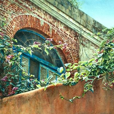 7-Distant-Courtyard-Havana-18_-x-24_-varnished-watercolour