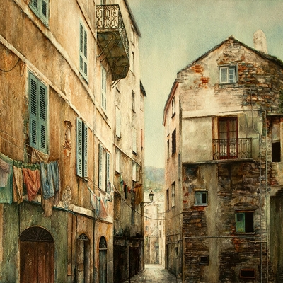 8-Lost-Passage-Corsica-29_-x-40_-varnished-watercolour