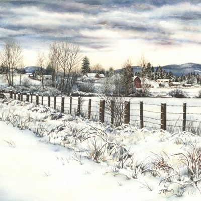 "Glenora Snowfall 11"" x 17"" watercolour"