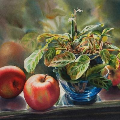 17-Studio-Window-Autumn-14_-x-18_-varnished-watercolour
