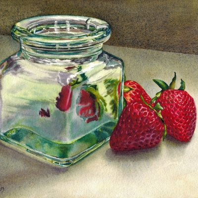28-Strawberries-Glass-8_-x-10_-varnished-watercolour